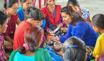 Working with new mothers in Nepal.