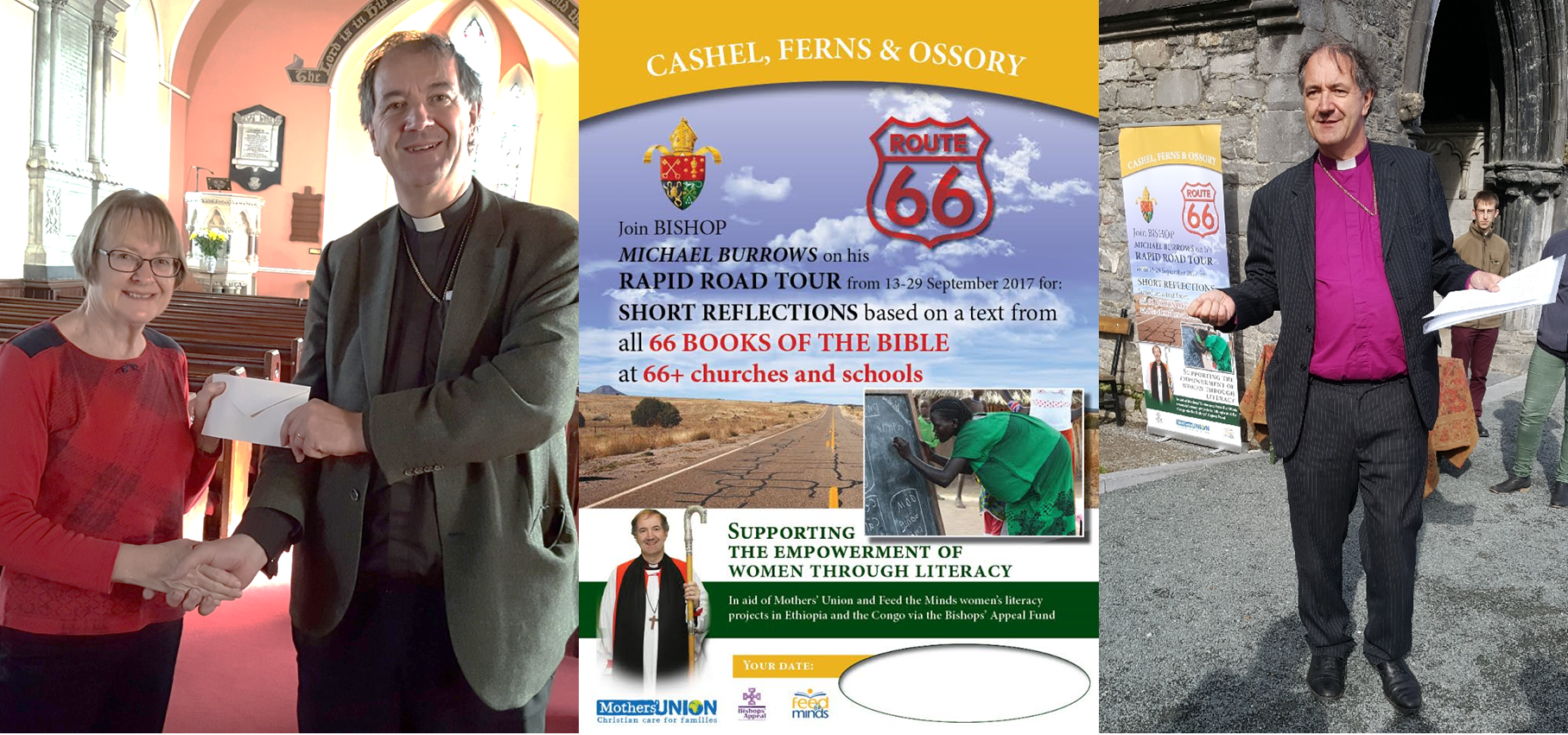 Bishop Burrows fundraising presentation at Tullow church (left), Route 66 Poster (centre) and Bishop Burrows outside St Canice's Cathedral (right)