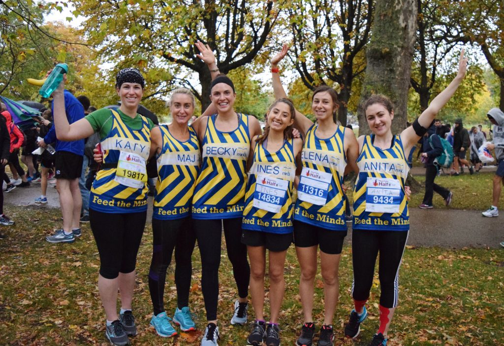 Members of the Royal Parks Half Marathon team, 2018., just before the run began.